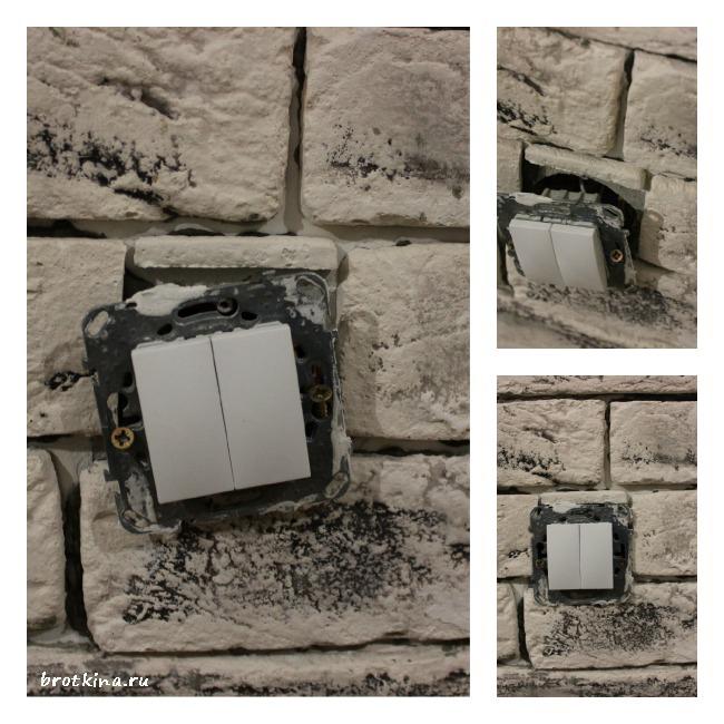 Стена из кирпичиков в интерьере